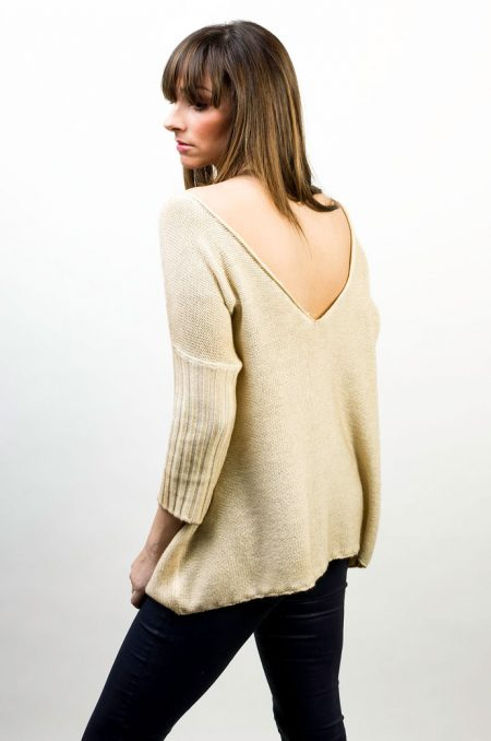 Knit V Neck Over Two Colors Reversible - cod. T308
