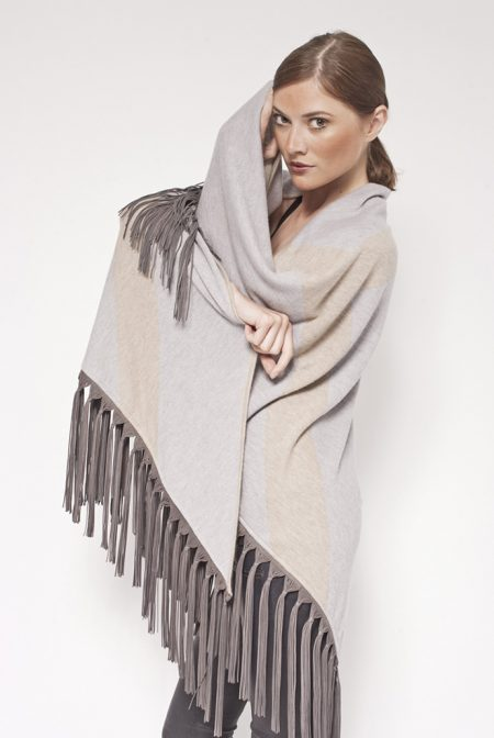 Gipsy cashmere bi color reversible shawl with fantasy leather fringes - cod. 13/55e