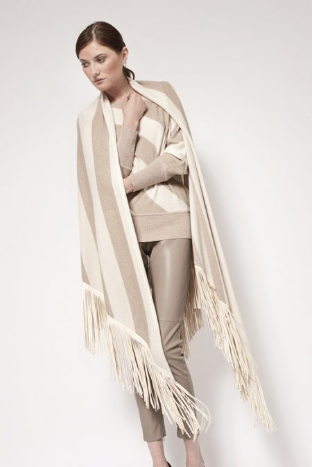 Gipsy cashmere bi color shawl with leather fringes - cod. 13/53