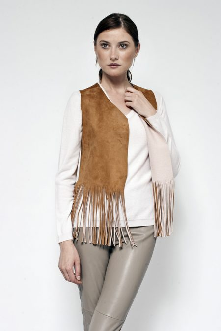 Suede vest coupled with cashmere - cod. 17/52