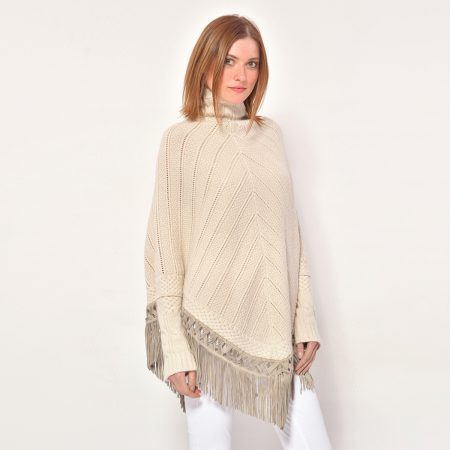 cod. 12/33 – color Sabbia - Cashmere fantasy poncho with fantasy leather fringes