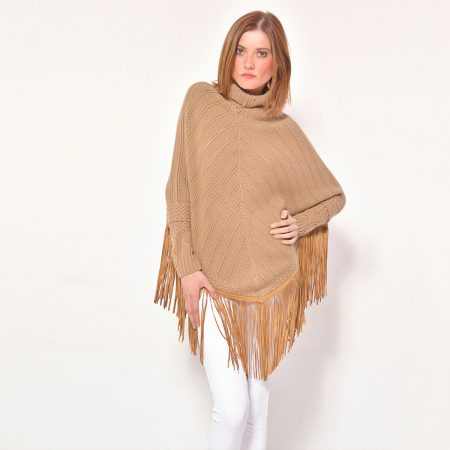 cod. 12/33 – color Camel - Cashmere fantasy poncho with leather fringes