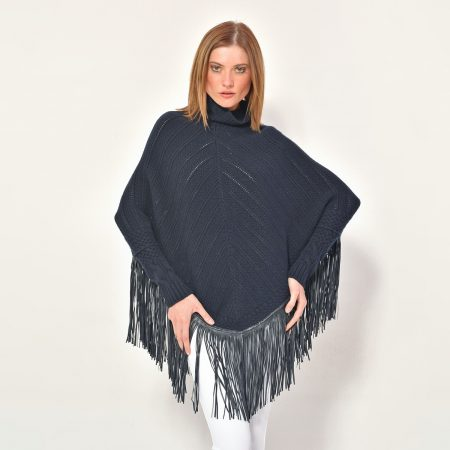 cod. 12/33 – color Marino - Cashmere fantasy poncho with leather fringes