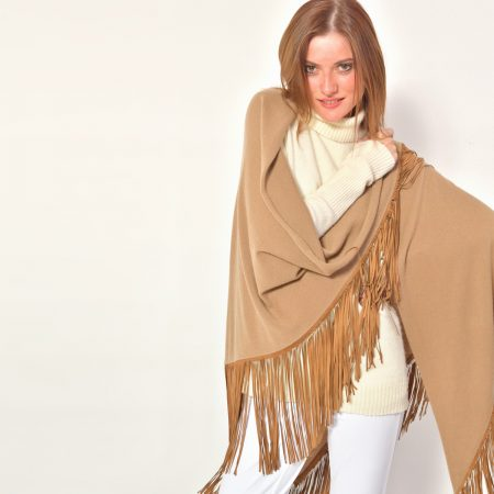 cod. 13/18 – color Camel – Gipsy cashmere shawl with leather fringes