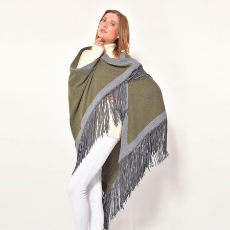 cod. 13/54 – color Borneo - Gipsy cashmere bi color rimmed shawl with leather fringes