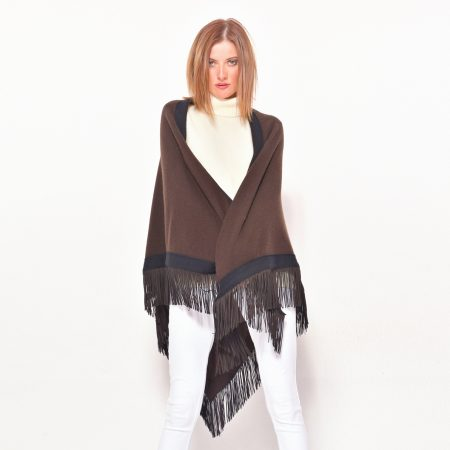 cod. 13/54 – color Caffè – Gipsy rimmed cashmere shawl with leather fringes