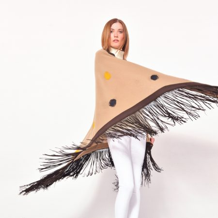 cod. 13/66 – color Camel - Gipsy rimmed cashmere shawl with polka dots and leather fringes