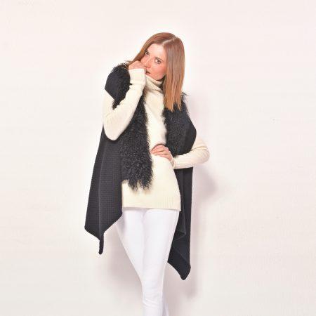 cod. 17/32 – color Black – Cashmere fantasy vest rimmed with mongolia