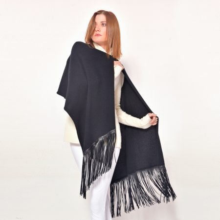 cod. 20/28 – color Black - Cashmere scarf with leather fringes on both sides
