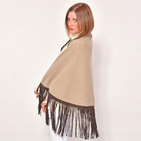 cod. 20/29 - color Dune/Arpa - Gipsy cashmere double 'moon' scarf with leather fringes