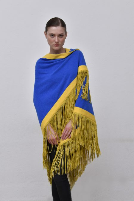Cod .13/54 - color Royal/Sole – Rimmed cashmere shawl with suede fringes