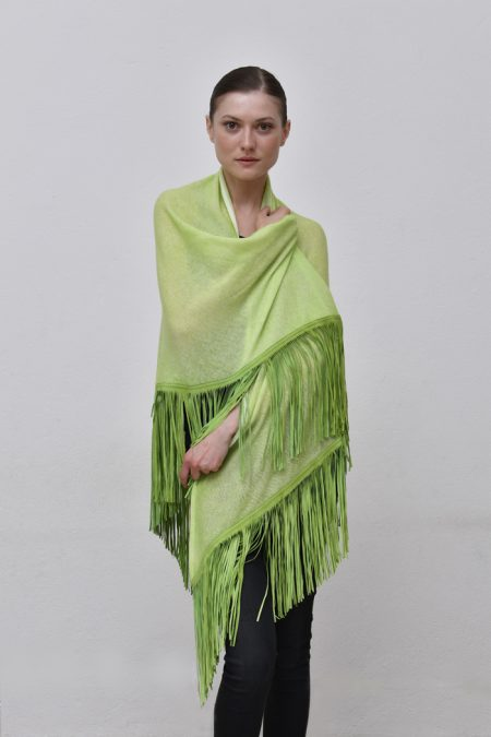 Cod. 13/20 – color Carambola - Gipsy cashmere shawl with suede fringes