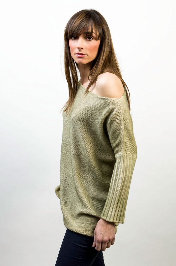 Knit Boat Neck Over Two Colors Reversible - cod. T300