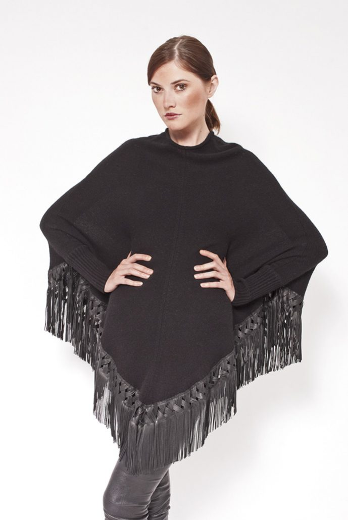 Cashmere poncho with fantasy leather fringes - cod. 12/30