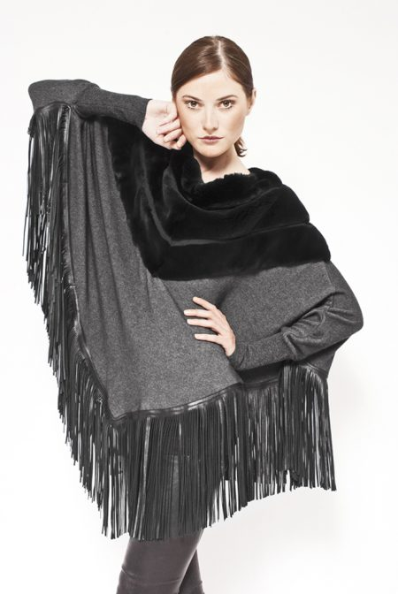 Cashmere poncho with mink and leather fringes - cod. 12/32