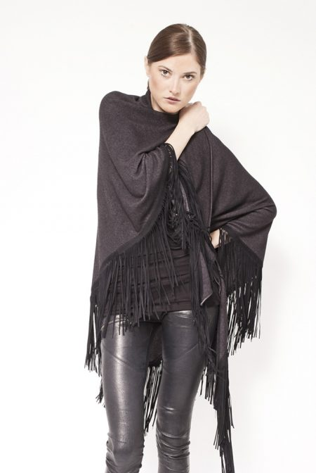 Gipsy cashmere shawl with leather fringes - cod. 13/18