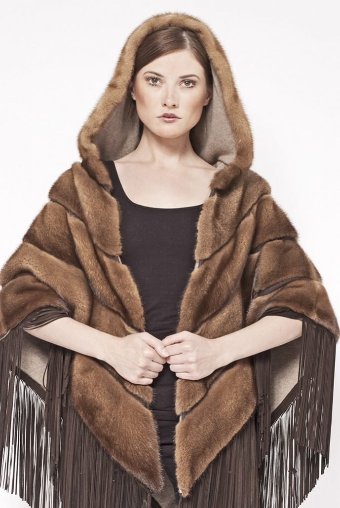 Cashmere/mink reversible cape with leather fringes - cod. 13/70