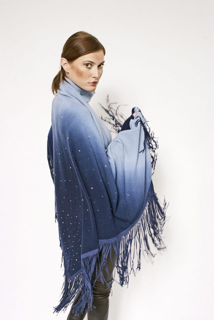 Gipsy cashmere faded shawl with swarovski - cod. 13/52