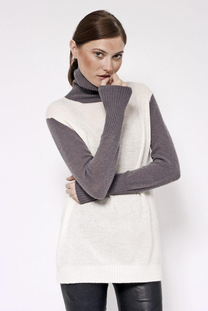 Cashmere bi color turtle neck knit - cod. B581/B