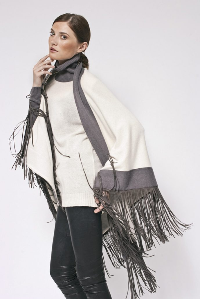 Gipsy cashmere bi color rimmed shawl with leather fringes - cod. 13/54