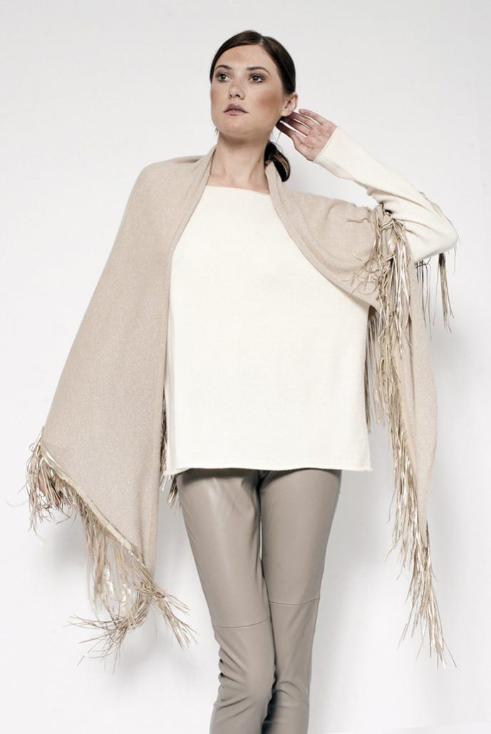 Gipsy shawl in cashmere/lurex with leather fringes - cod. 13/18L