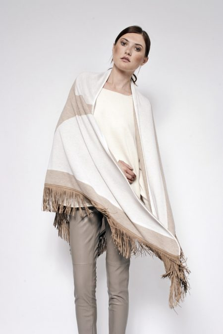 Gipsy cashmere bi color reversible shawl with short leather fringes - cod. 13/57