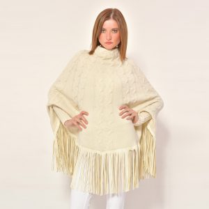 cod. 12/34 – color Arpa – Cashmere poncho with leather fringes
