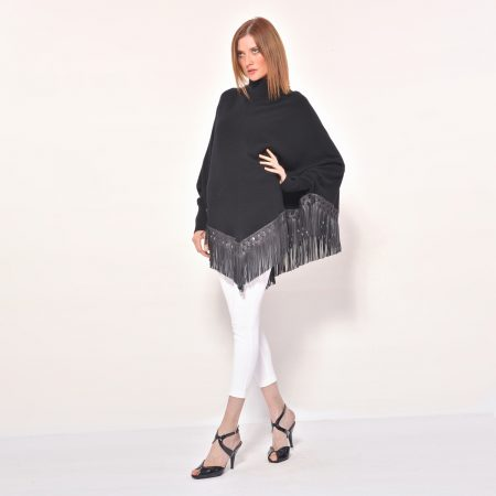 cod. 12/35 – color Black - Cashmere turtle neck poncho with fantasy leather fringes