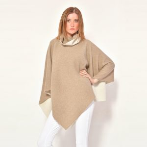 cod. 12/36 – color Dune/Arpa – Poncho in cashmere double