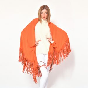 cod. 13/18 – color Mandarino– Gipsy cashmere shawl with leather fringes