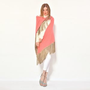 cod. 13/18 – color Old Rose– Gipsy cashmere shawl with leather fringes