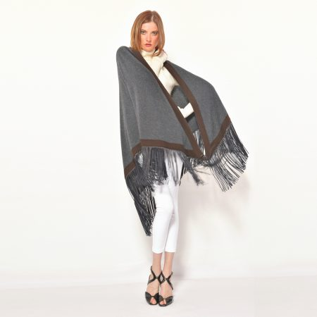 cod. 13/54 – color Steinway – Gipsy cashmere bi color rimmed shawl with leather fringes
