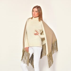 cod. 13/56 – color Dune/Arpa – Gipsy cashmere double rimmed shawl with leather fringes