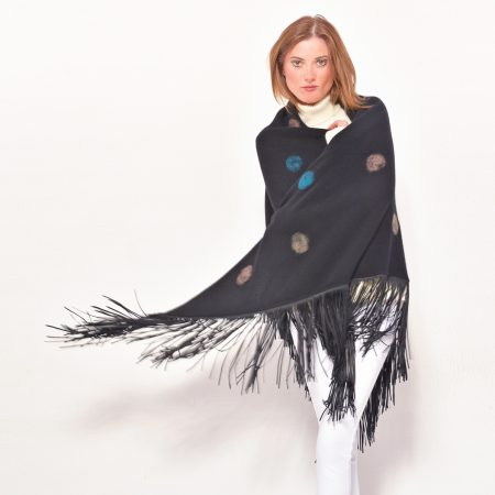 cod. 13/67 – color Black - Gipsy cashmere shawl with polka dots and leather fringes