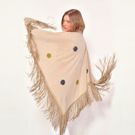 cod. 13/68 – color Dune - Gipsy cashmere shawl with polka dots and leather fringes