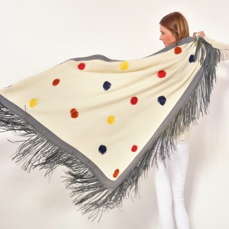 cod. 13/69 – color Arpa - Gipsy rimmed cashmere shawl with polka dots and leather fringes