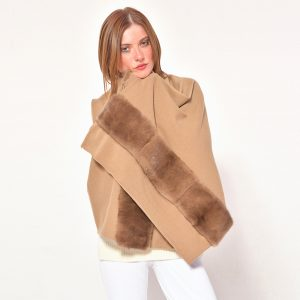 cod. 20/27 – color Camel - Cashmere scarf with mink on both sides