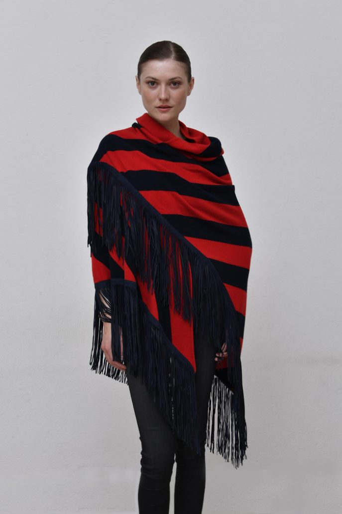 Cod. 13/53 – color Red/Marino - Striped cashmere shawl with suede fringes