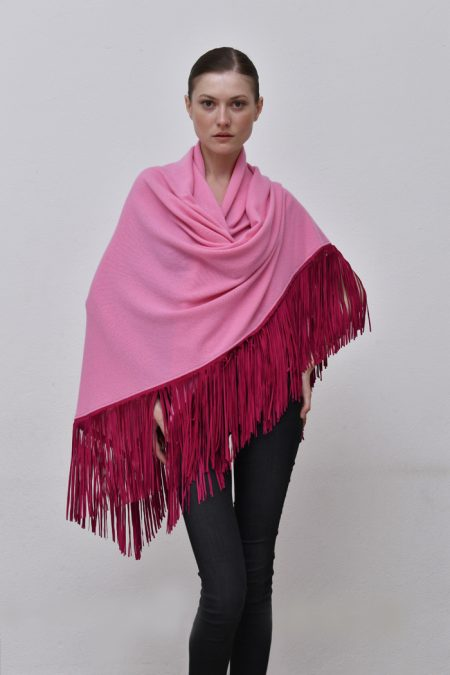 Cod. 13/18 – color Chiffon – Gipsy cashmere shawl with color Fuxia suede fringes