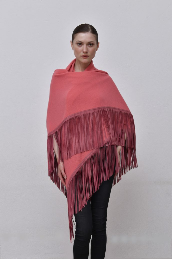 Cod .13/18 - color Old Rose – Gipsy cashmere shawl with suede fringes